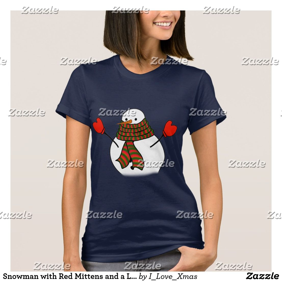 16907b68b Snowman with Red Mittens and a Long Scarf T-Shirt by #I_Love_Xmas #Zazzle  #Gravityx9 #ilovexmas * Christmas tee shirts * Christmas shirts ideas *  holiday ...