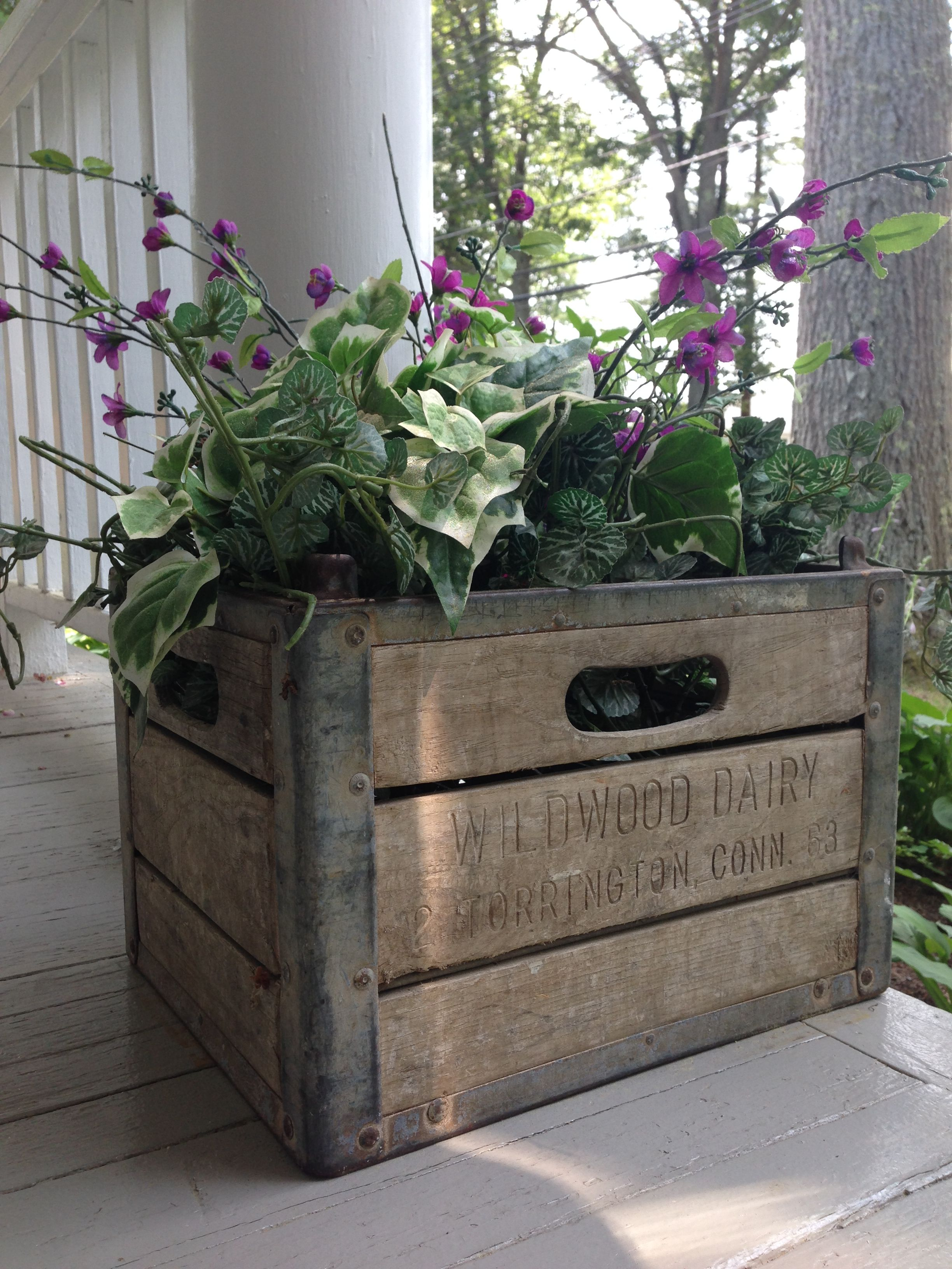 Vintage Wooden Milk Crate Becomes Porch Planter Compliments Of Wildwood Dairy Torrington Ct Crate Decor Milk Crates Wooden Crates Planters