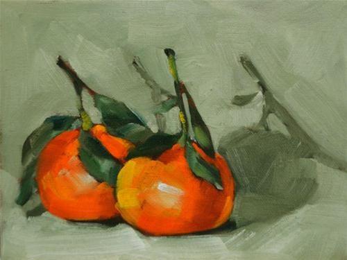 "Daily Paintworks - ""Two Mandarins"" - Original Fine Art for Sale - © Cheryl Wilson"