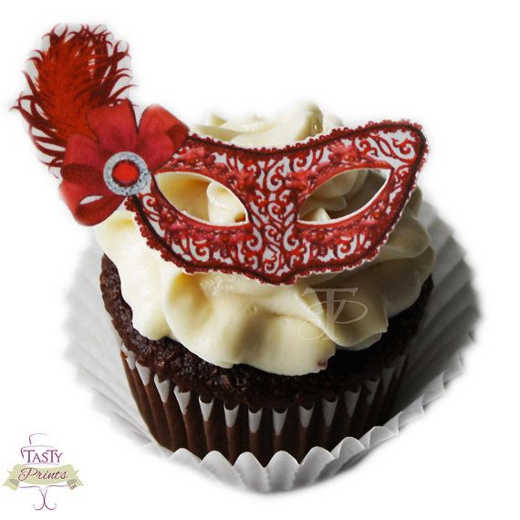 12 Edible Decorations - Masquerade Food Decorations -Red Masquerade Mask Cupcake Topper  sc 1 st  Pinterest & 12 Edible Decorations - Masquerade Food Decorations -Red Masquerade ...