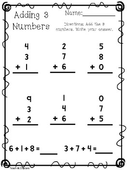 10 Adding 3 Numbers Worksheets Kdg 1st Grade Math First Grade