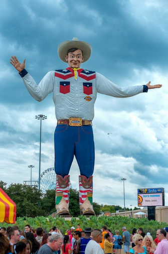 """A photo of """"Big Tex"""" from the Fair Park in Dallas, Texas. Credit: Wikipedia. Read more on the GenealogyBank blog: """"How to Research a Town's Genealogy, & Funny Texas Town Names."""" http://blog.genealogybank.com/how-to-research-a-towns-genealogy-funny-texas-town-names.html"""