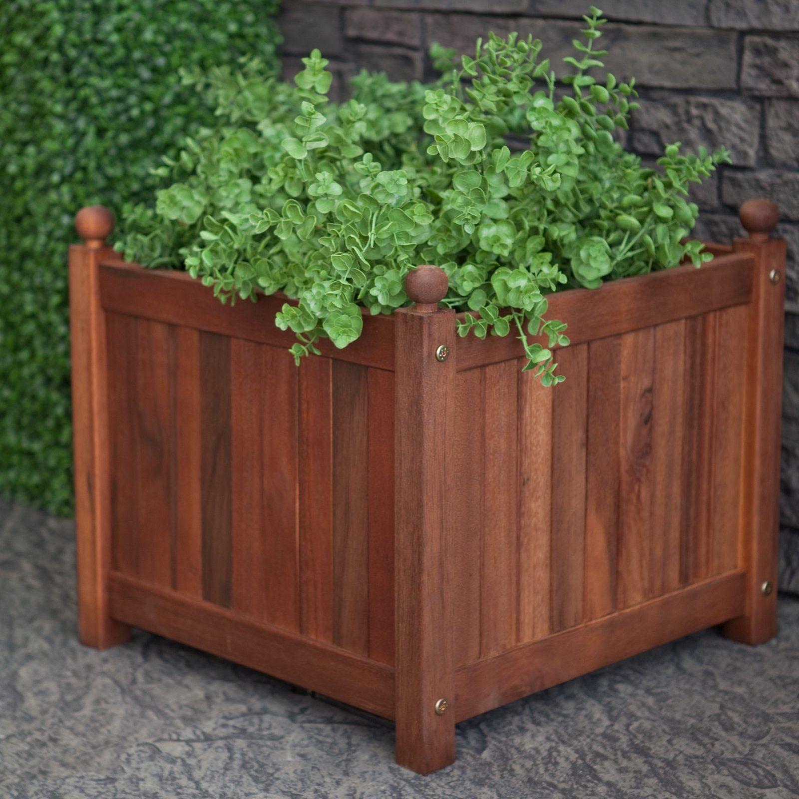 Square Acacia Wood Calypso Patio Planter Box