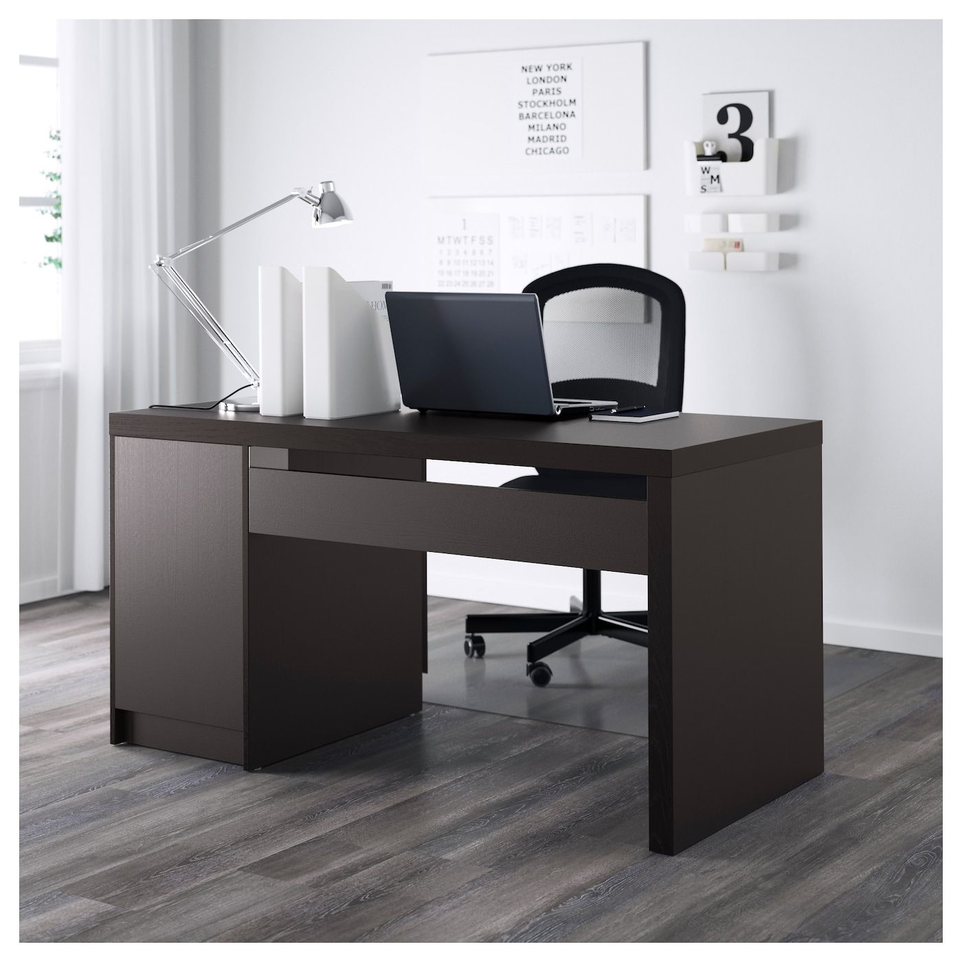 "MALM Desk blackbrown 55 1/8x25 5/8 "" Modern home"
