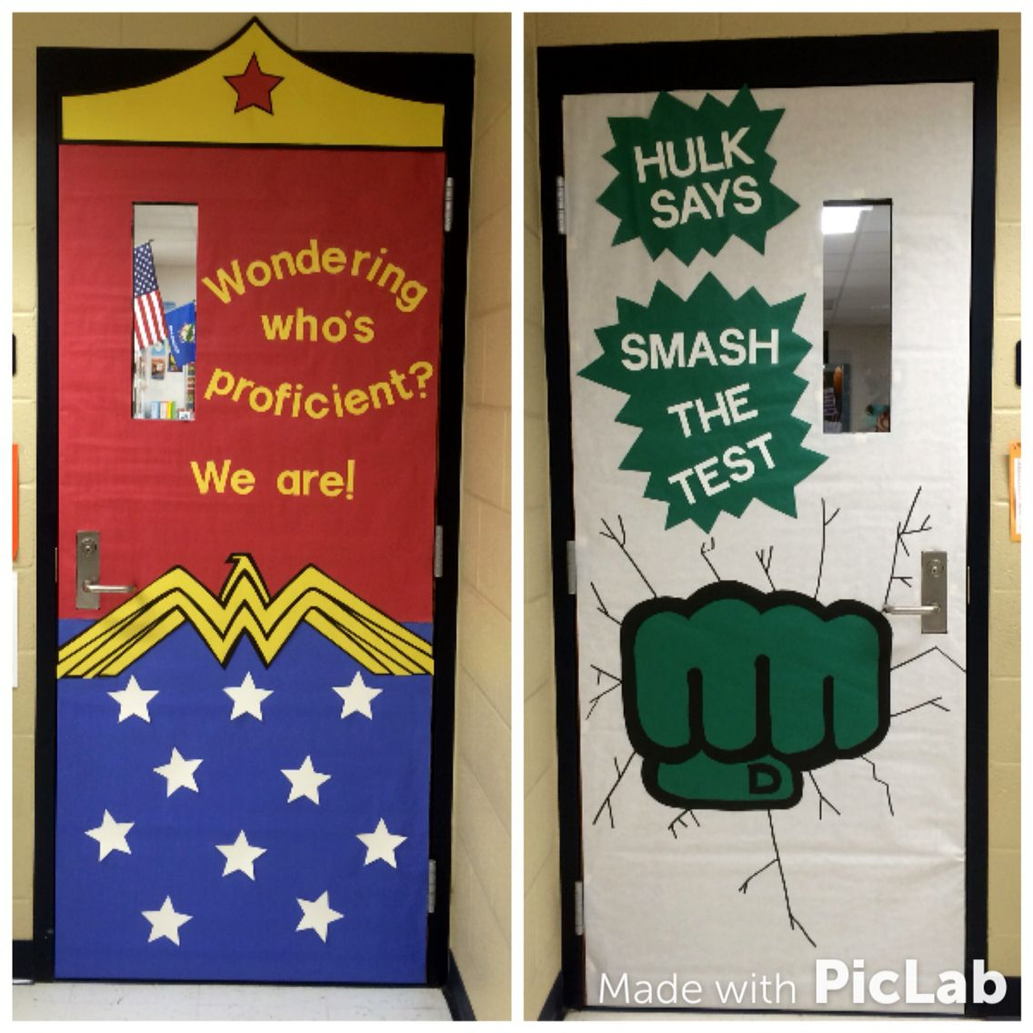 State testing classroom door decorations superhero themed for Decoration chambre super heros