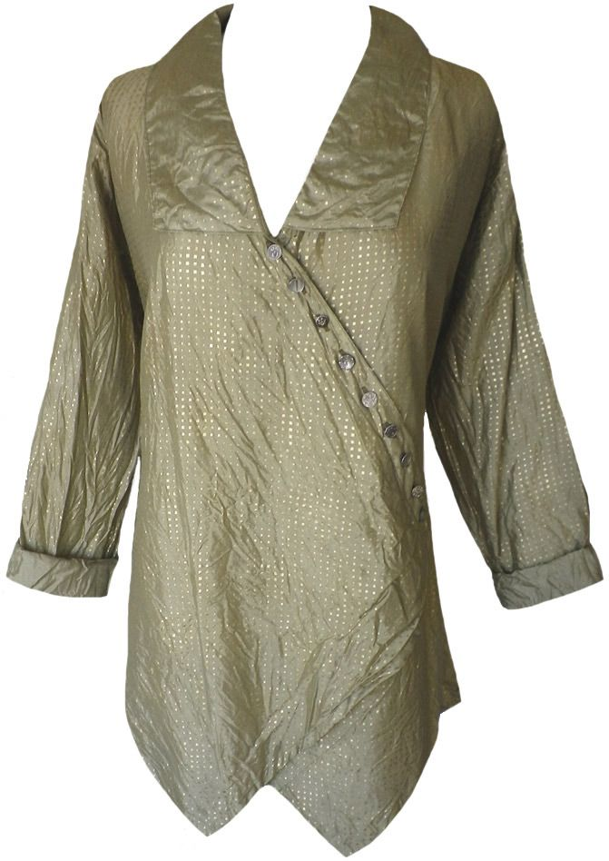 9ab23a6db02ef Krista Larson  Olive graphic square silk Lotus Shirt
