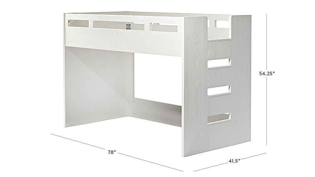 Abridged White Glaze Low Twin Bunk Bed With Right Ladder In 2019
