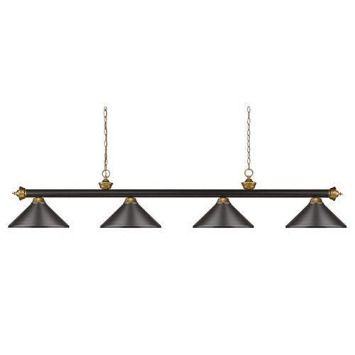 Riviera Bronze and Satin Gold 14-Inch Four-Light Island Pendant with Bronze Metal Shade