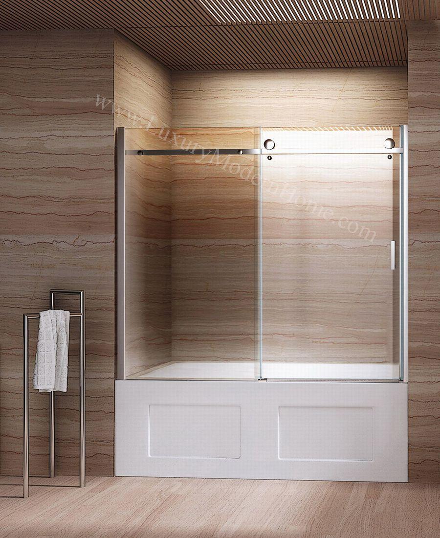 Wood Tile Bathroom Shower With Bathtub Sliding Door And Wood