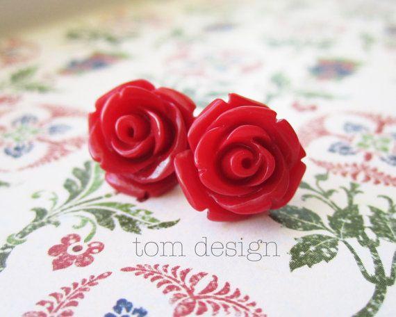 Lola Rose Post Earrings  Red Bride Bridesmaid Wedding by tomdesign, $8.00