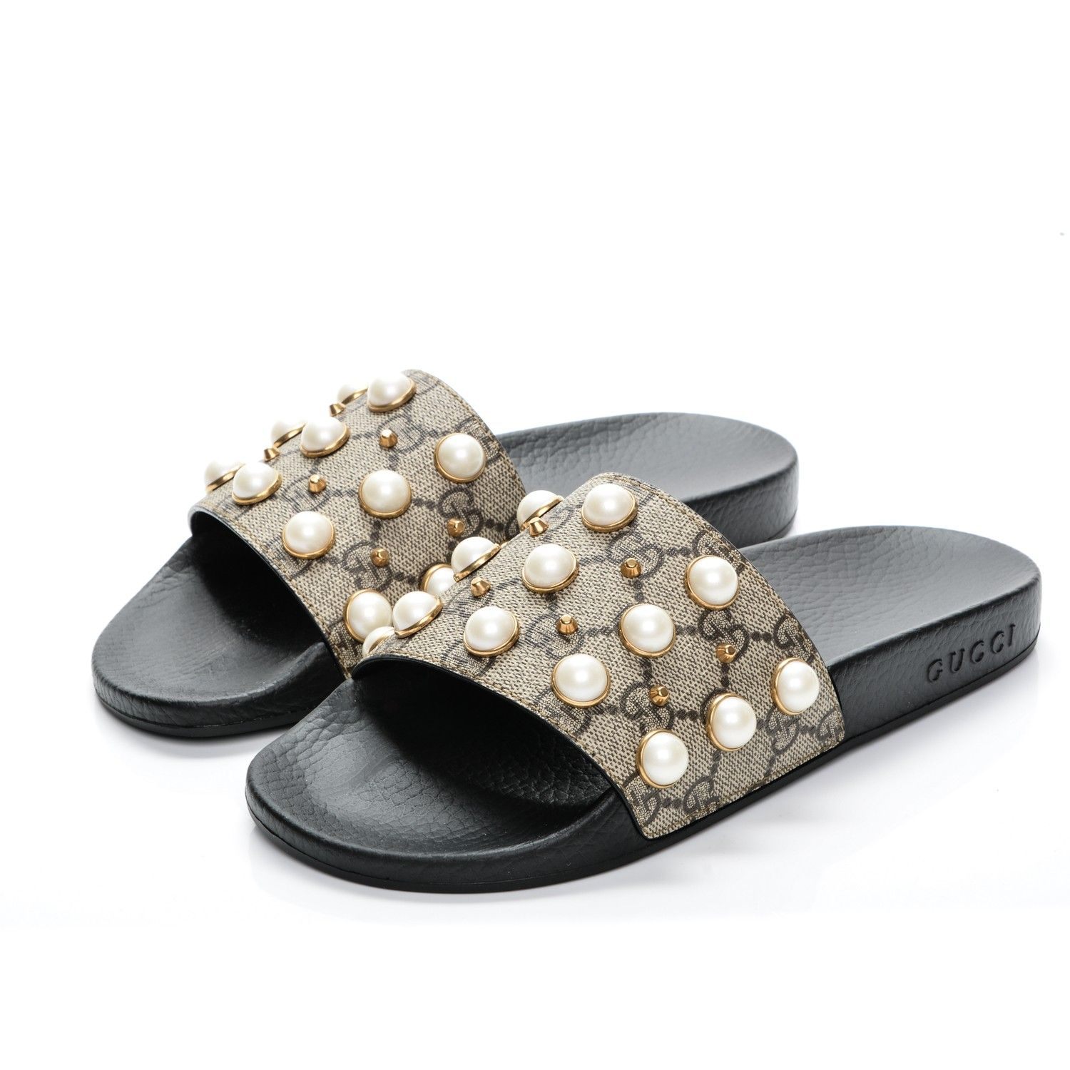 cde9e6d785fb This is an authentic pair of GUCCI GG Supreme Monogram Slide Pearls Sandals  in size 37