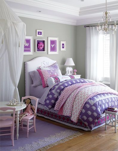 Girls Bedroom - I love the idea of hanging a canopy above the play table!  Pretty ...