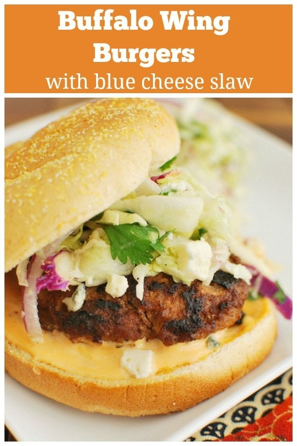 Buffalo Wing Burgers with Blue Cheese Slaw - spicy chicken burgers grilled to perfection, an easy homemade spicy mayo, and blue cheese slaw. One of my favorite burgers!