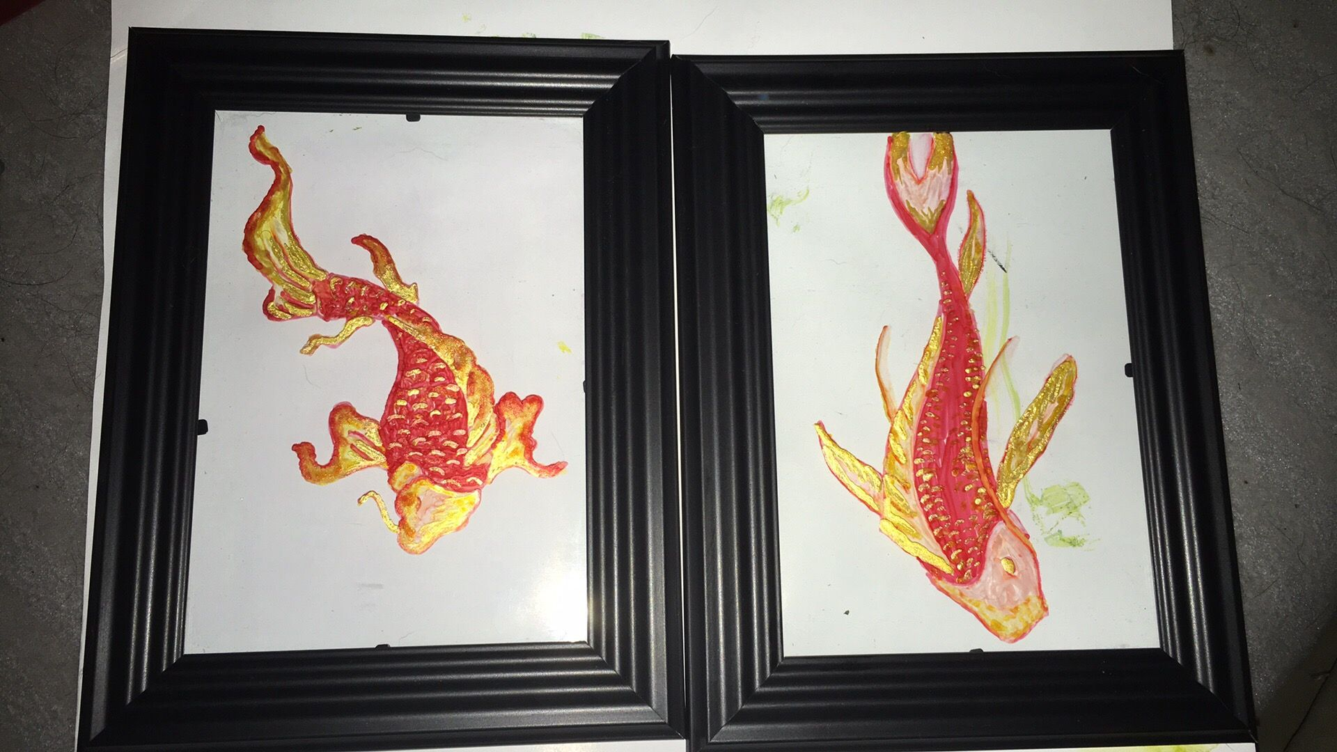 Fish Calligraphy Ink On Glass 5x7 Art