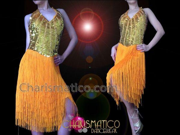 d064c8f82 Charismatico Dancewear Store - CHARISMATICO Halter Style Golden Sequin And  Fabric Fringe Latin Dance Dress ,