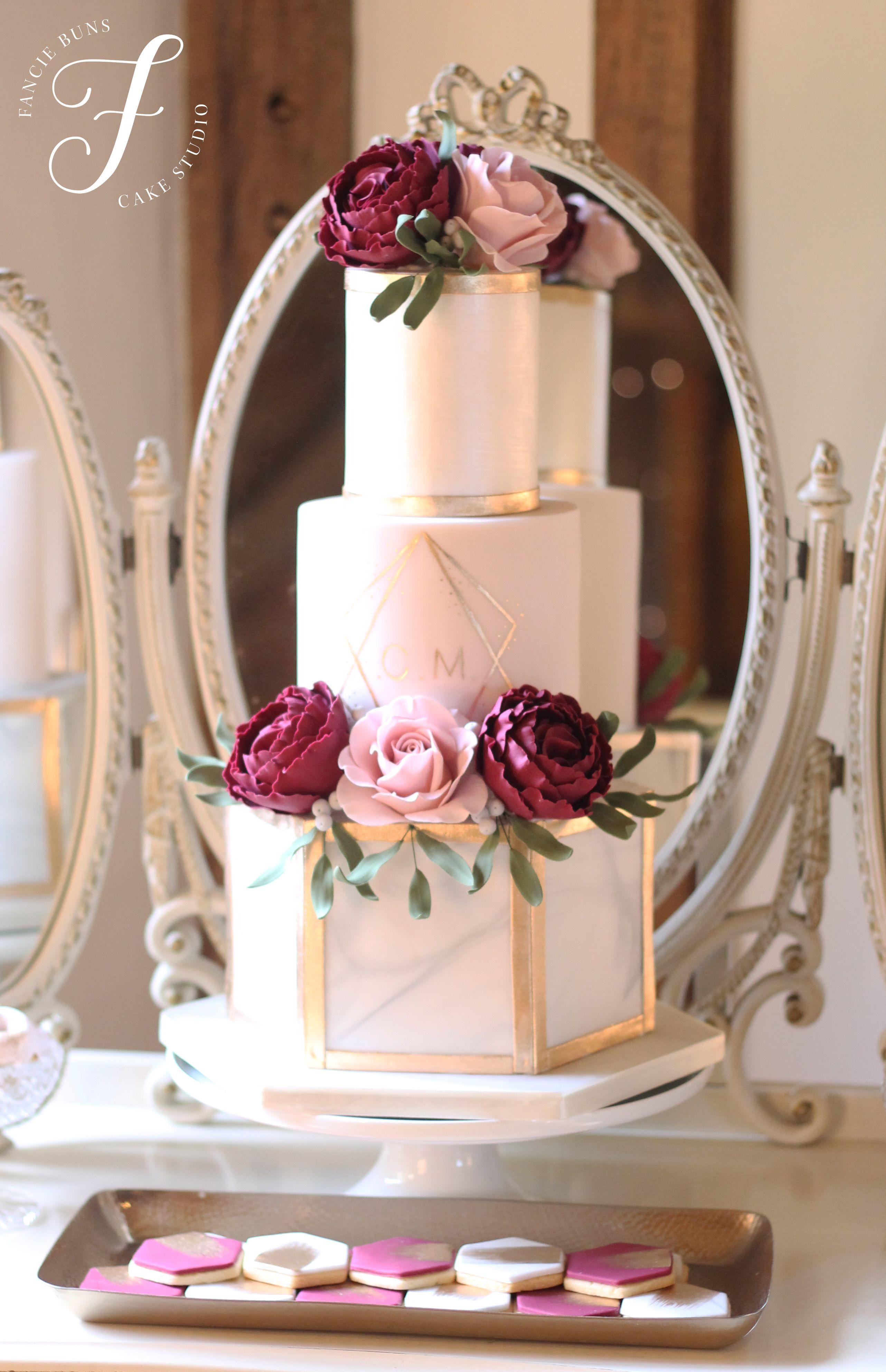 Blush, Burgundy & gold styled cake table, main cake