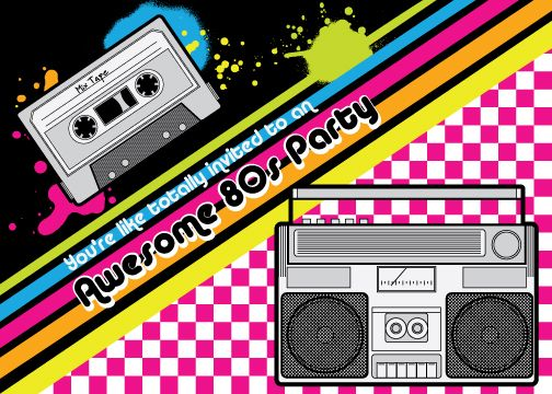 Awesome 80s invitation – 80s Theme Party Invitations