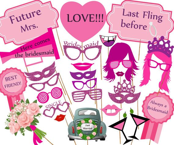 Bachelorette Bridal Shower Photo Booth Props Printable Party Props