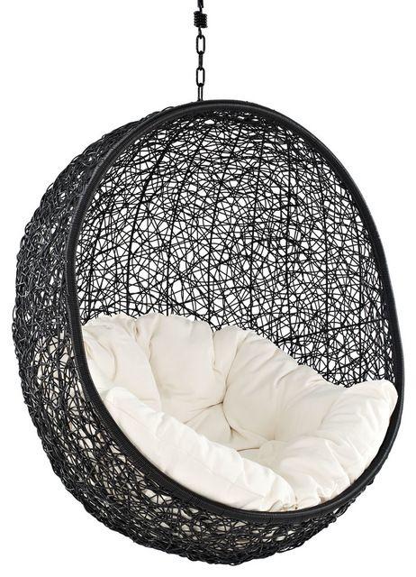 Cocoon Wicker Rattan Outdoor Wicker Patio Swing Chair Suspension