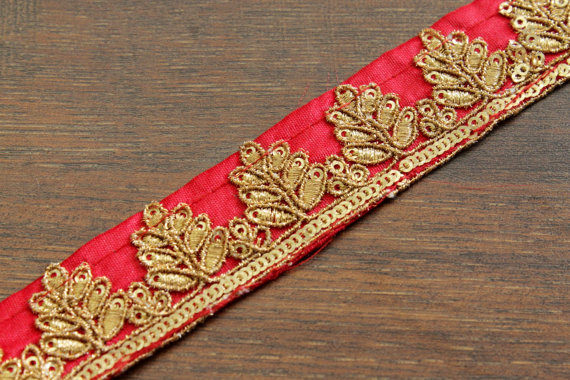 """yard 1/"""" Brown Gold Butterfly Embroidery Trim"""