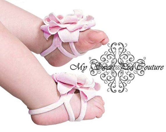 Baby Bare Foot Sandals Light Pink Soft & by MySweetPeaCouture, $5.50