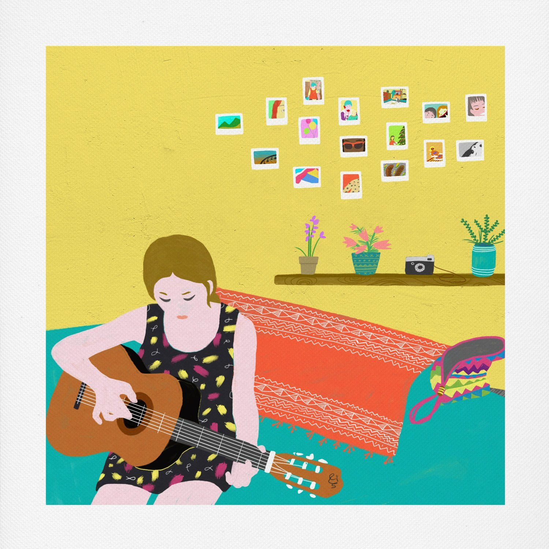 Playing Guitar Canvas Art Print via @oubly | Randon fun stuff ...