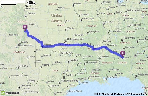 Driving Directions from Birmingham, Alabama to La Veta, Colorado ...