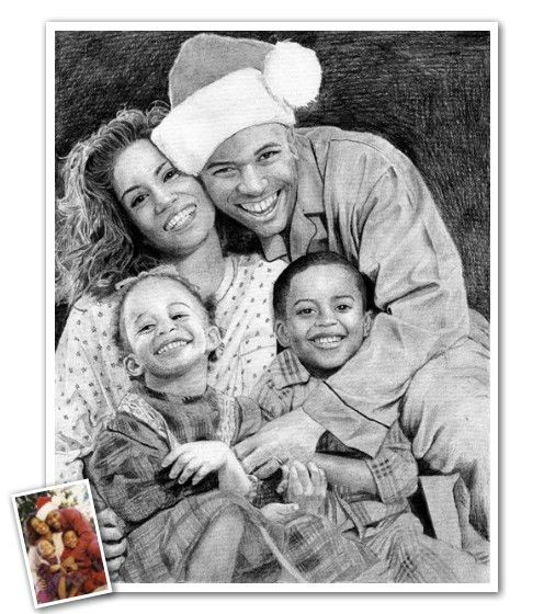 A beautiful hand drawn pencil sketch of your family that ...