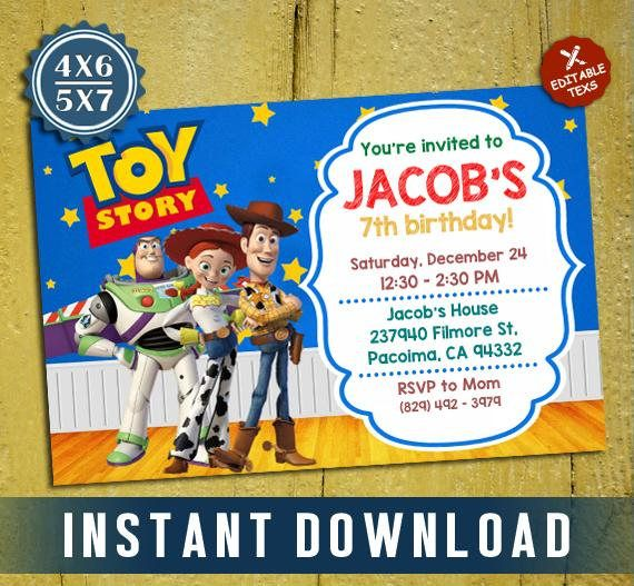 Instant Printable File Editable Pdf Template Toy Story Invitation Birthday