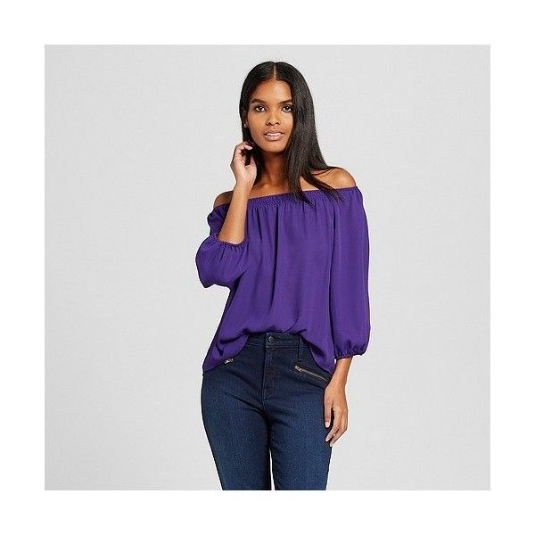 Women's Off The Shoulder Blouse Purple ($35) ❤ liked on Polyvore featuring tops, blouses, purple, extra long sleeve shirts, off shoulder shirt, shirt blouse, purple long sleeve shirt and print shirts