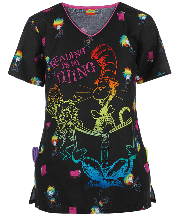Dr Seuss Scrub Tops : seuss, scrub, Cherokee, Suess, Reading, Thing, Scrub, Disney, Scrubs, Ladies, Printed, Tops,