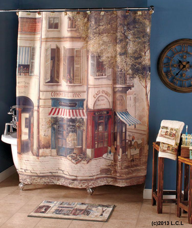 Cafe de Paris Shower Curtain u0026 Hand Towel Set