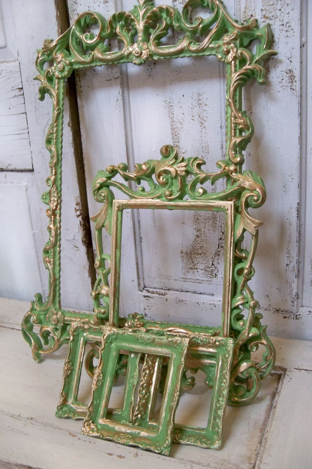 Ornate green frame grouping vintage hand painted shabby chic wall ...