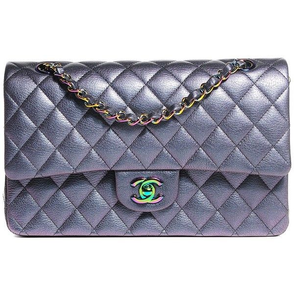 29be7780242e CHANEL Iridescent Goatskin Quilted Medium Flap Purple ❤ liked on Polyvore  featuring bags, handbags, shoulder bags, chain shoulder bag, purple purse,  chanel ...