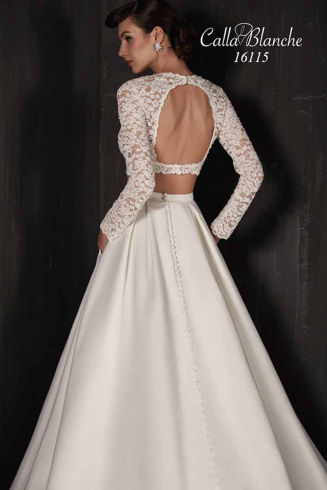Calla Blanche wedding dress/gown- Ivory with lace, two piece, long ...