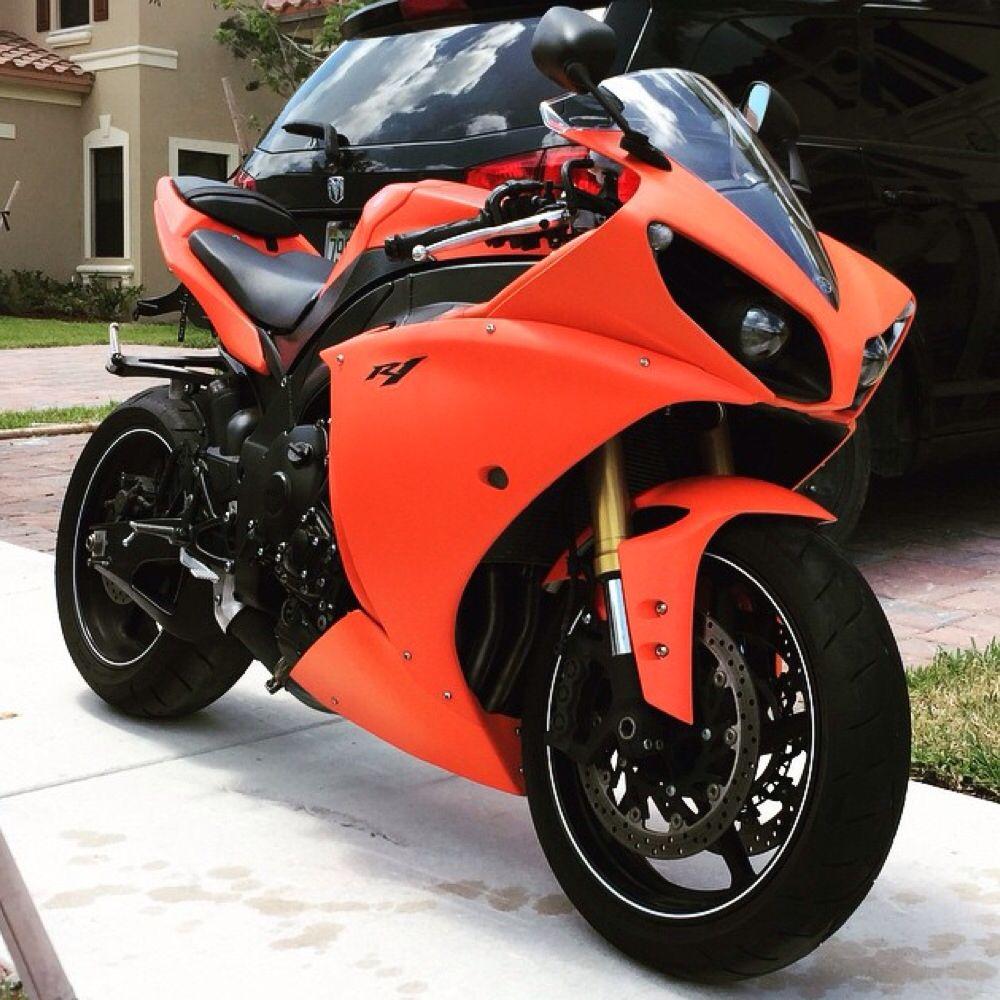 Orange Yamaha R1 streetbike | Motos | Pinterest | Motorräder, Autos ...