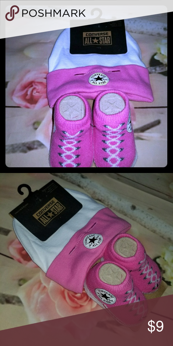 Nwt Converse hat booties set baby girls New with tags Converse set Includes  hat and booties f7e2920dec48