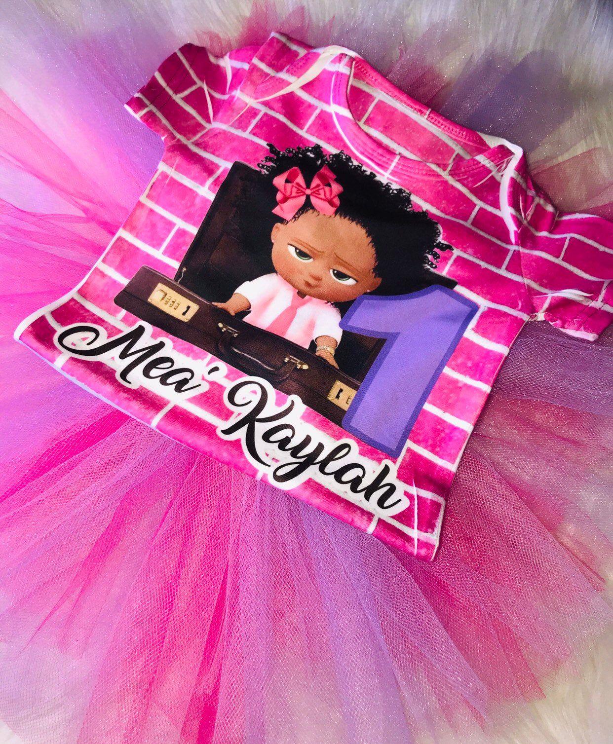 Black boss baby inspired birthday tutu set in 2020 baby