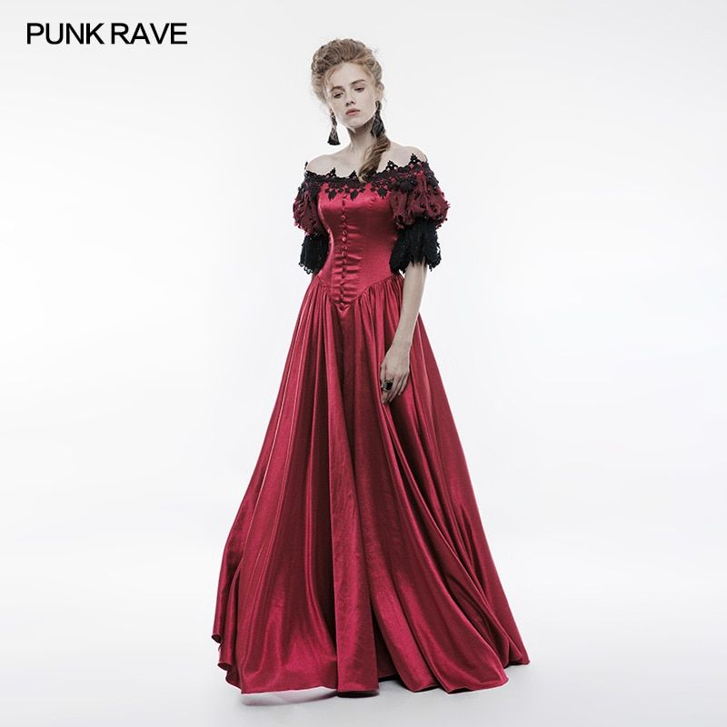 cb02f0d51b7 Punk Rave Victorian Vintage Palace Long Dress red satin with Embroidery