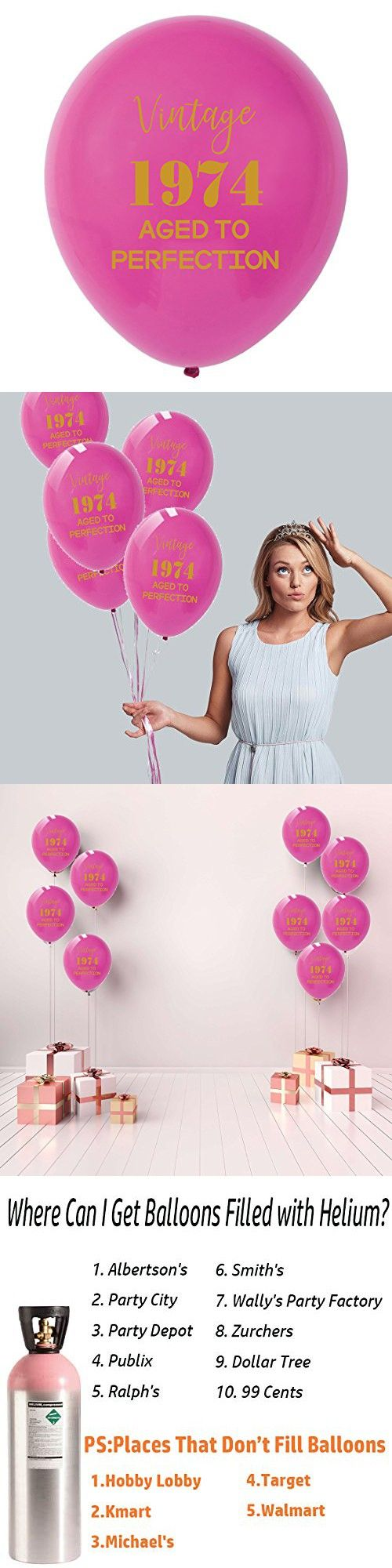 Pink Vintage 1974 Balloons – 12inch (16pcs) Men and
