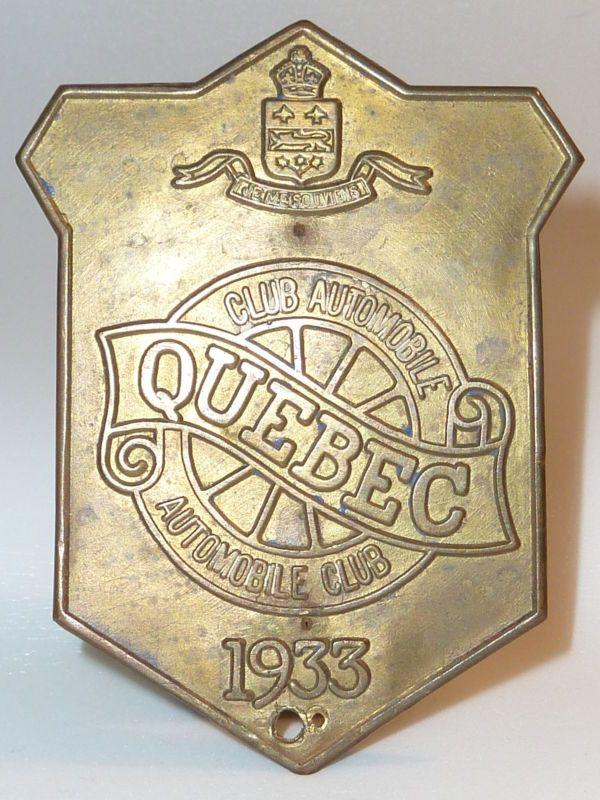 1933 Quebec Automobile Club Canada Automobile Association Badges