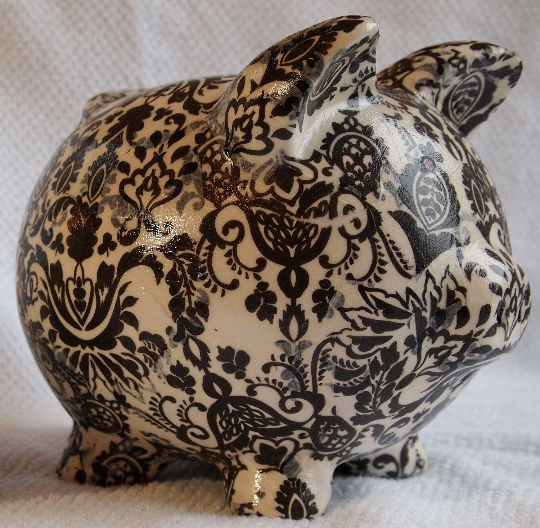 Ceramic Piggy Bank Lola Decoupage Paisley by LilandJilDesigns