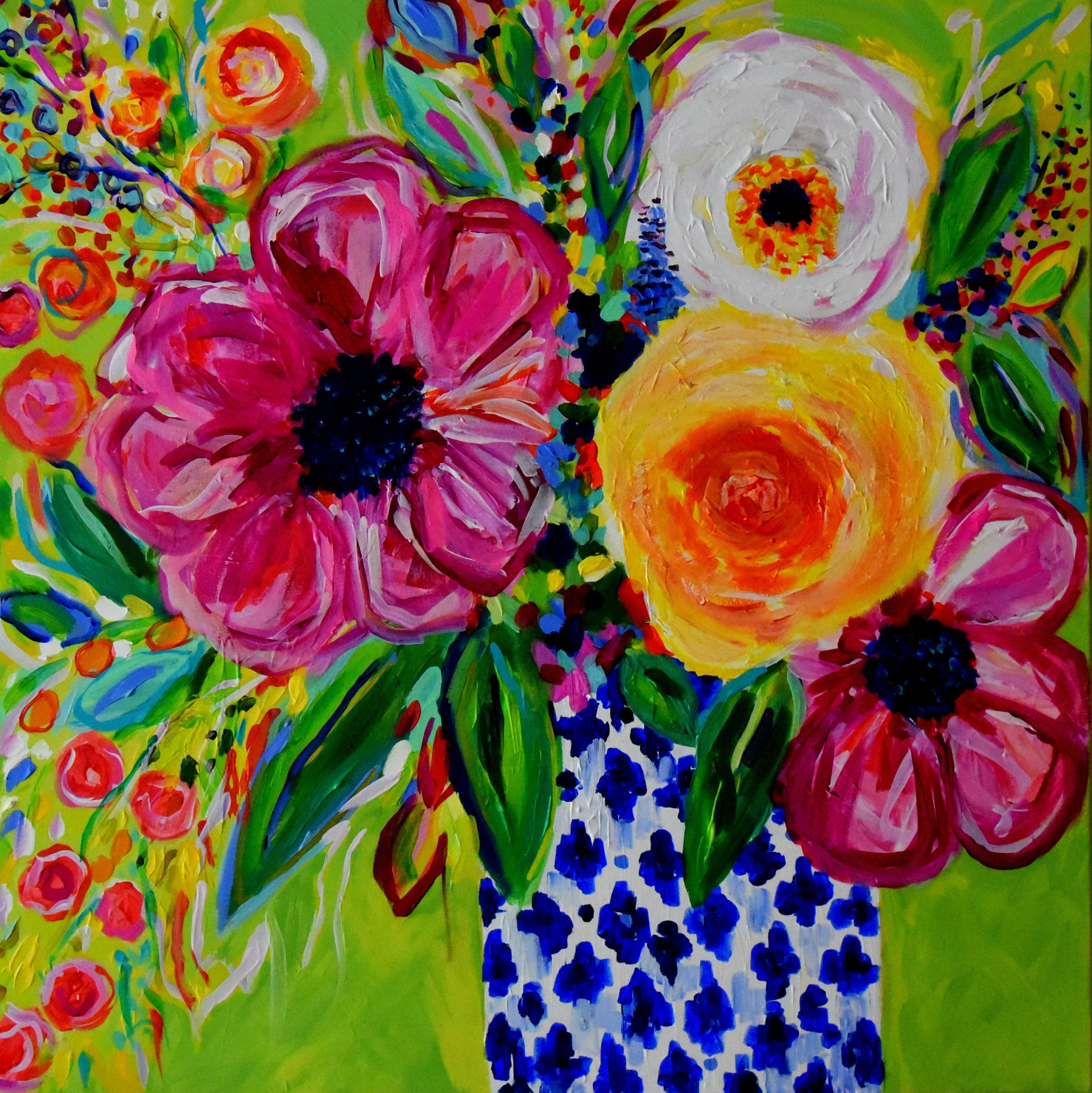 Still Life, Blue and White Ginger Jar Art, Colorful expressionistic flowers, abstract flowers, Fine Art PRINT, Giclee