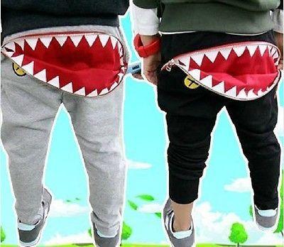 4a90dc968 Kids Boys Girls Shark Zipper Pocket Tracksuit Bottoms Joggers Casual ...