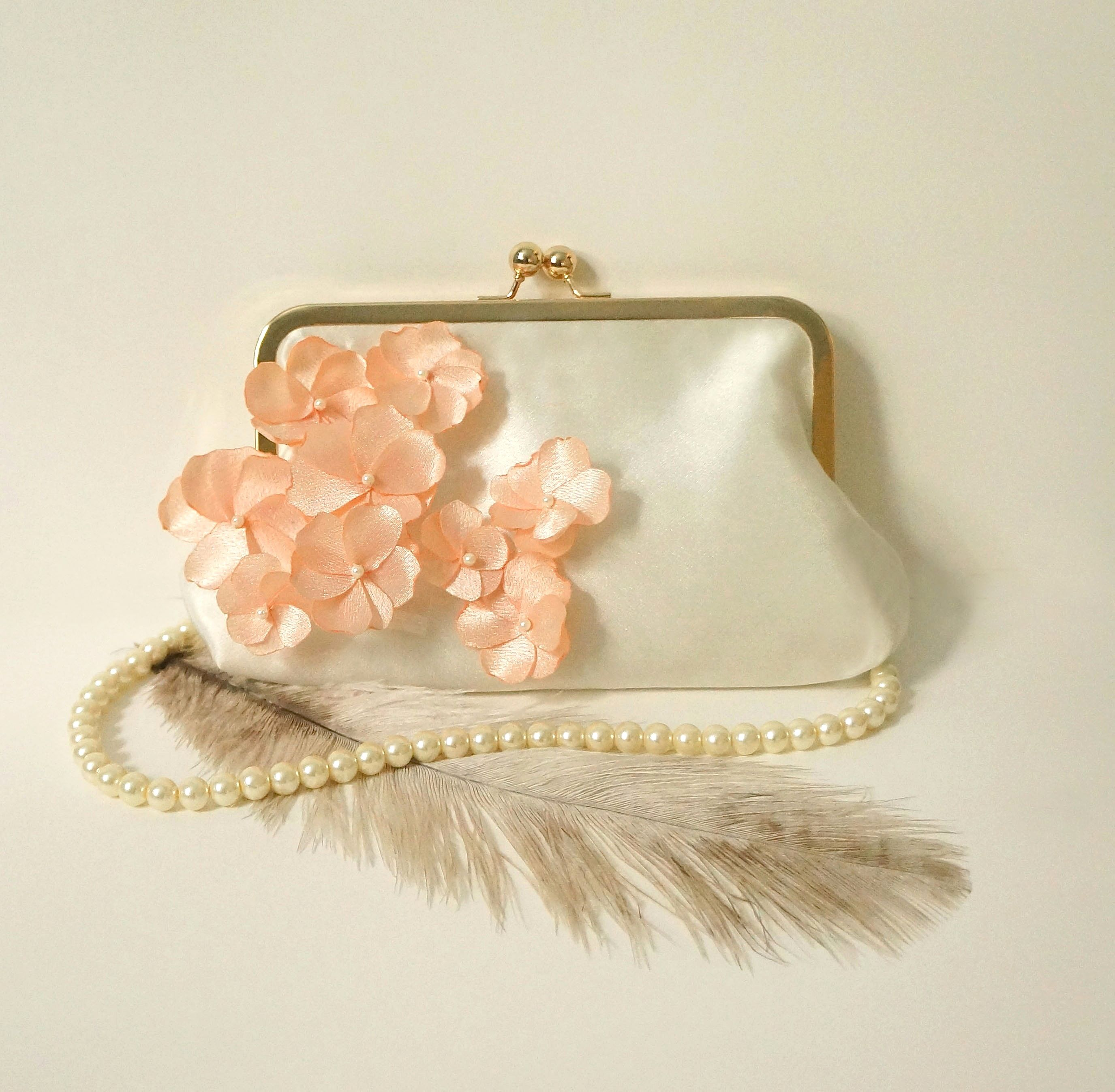 Romantic Clutch Purse- Ivory and Peach