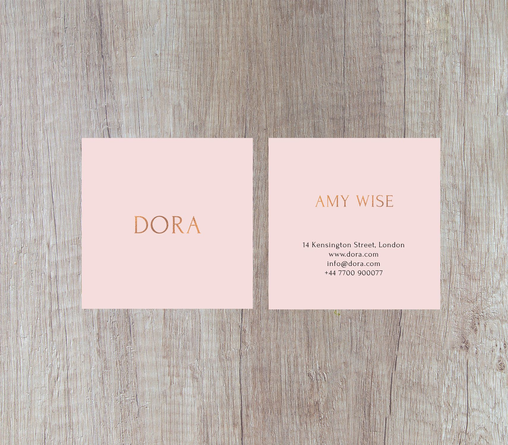 Square business cards calling cards square gold foil design pink dora a square business card design portraying luxury class and femininity featuring light reheart Gallery
