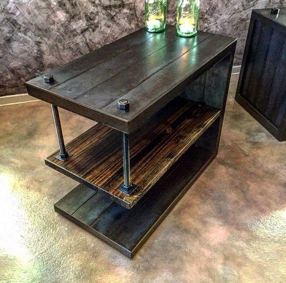Wolfe End table / nightstand van IRONCLADVINTAGEINDUS op Etsy
