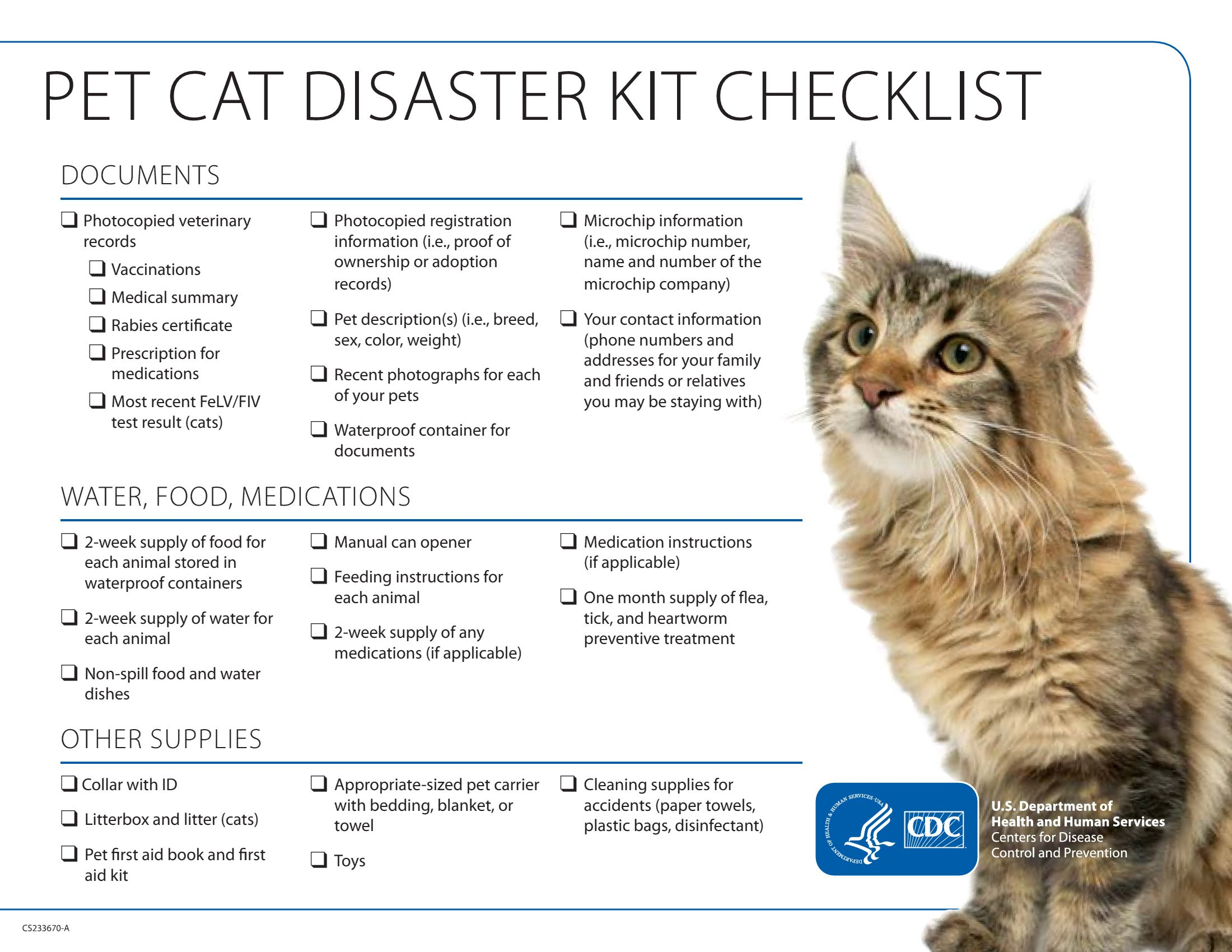 Pet Cat Disaster Kit Checklist Pet Emergency Cat Emergency Cat Care