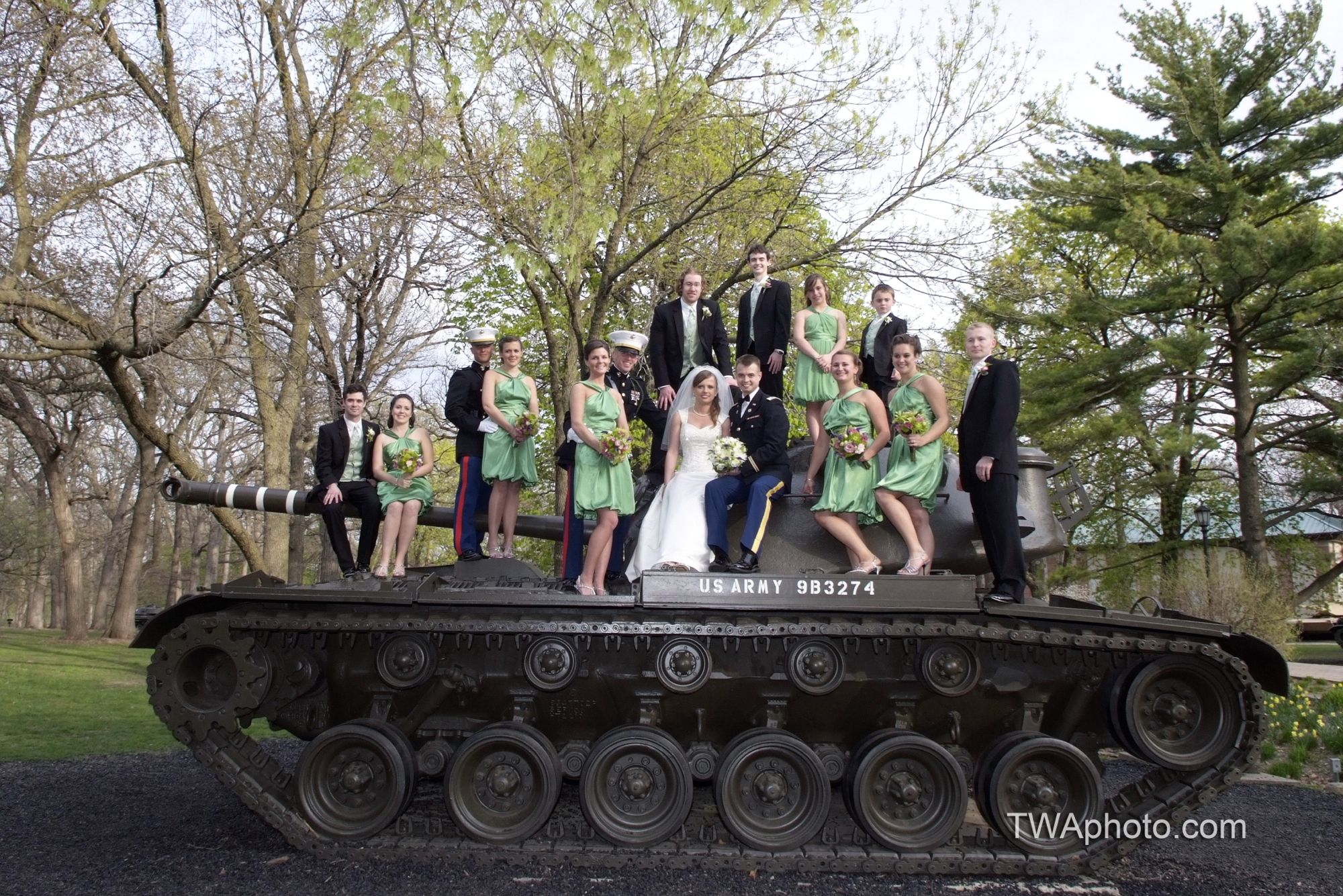 The #military theme is great and so is the color of the #bridesmaids dresses!