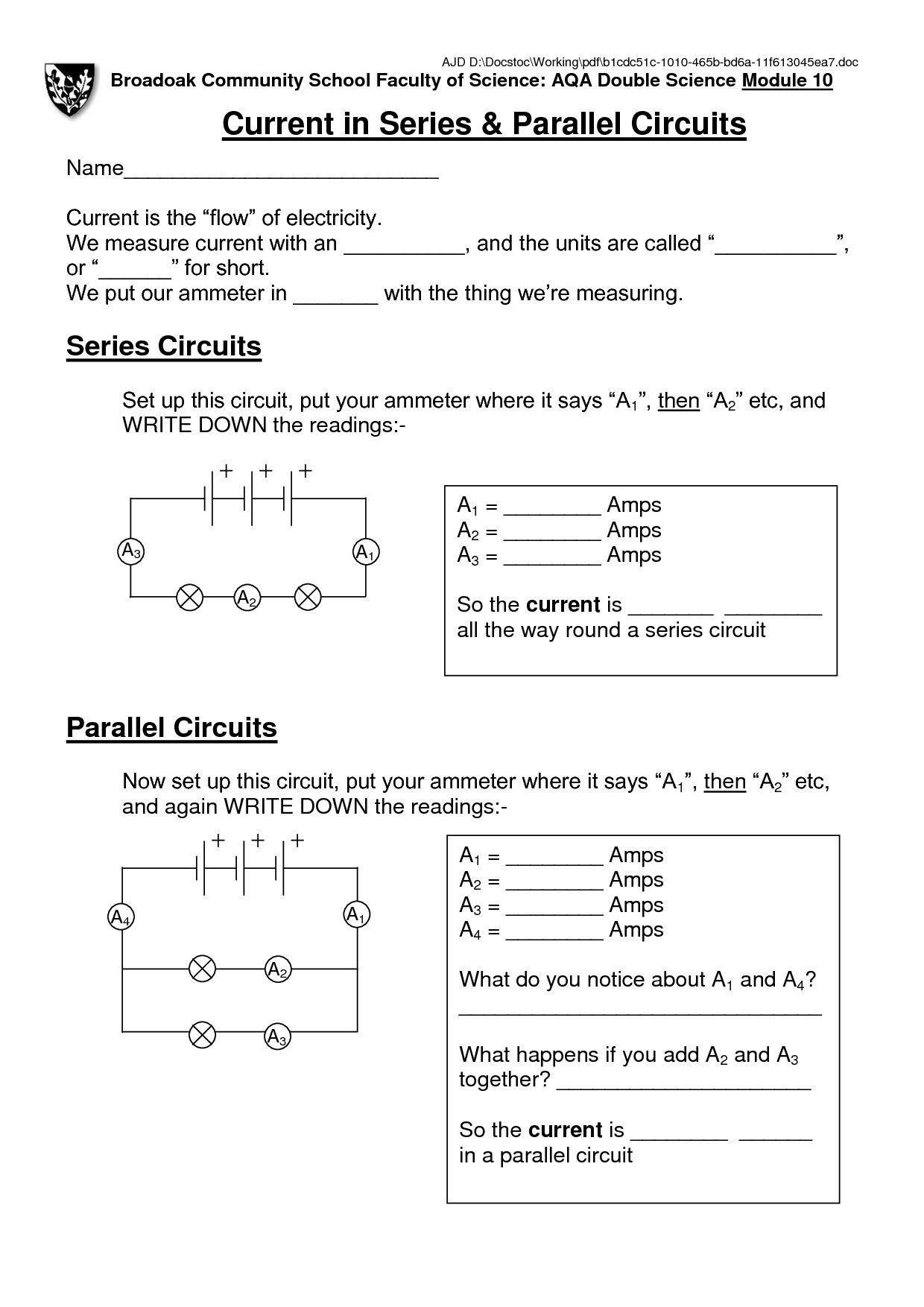 Academic Electrical Circuits Worksheet Electriccircuitsrevisionigcse Electriccircuitsricha